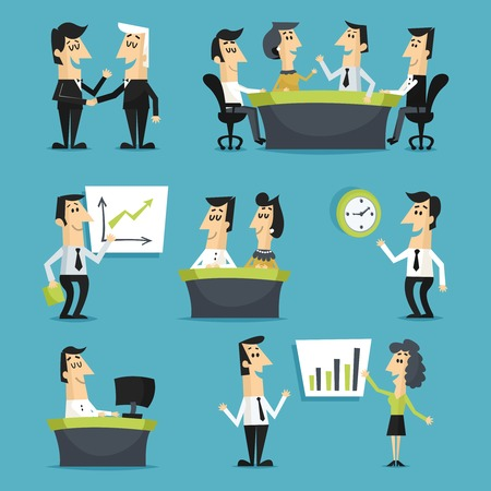 Illustration pour Office workers flat set with walking sitting people on workplaces meeting conferences isolated vector illustration - image libre de droit