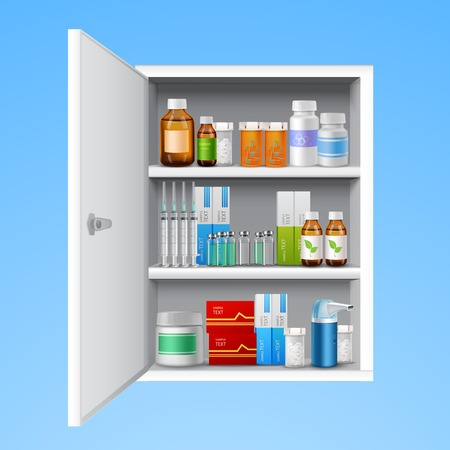 Illustration pour Medicine cabinet with tablets pills bottles drops realistic isolated on white background vector illustration - image libre de droit