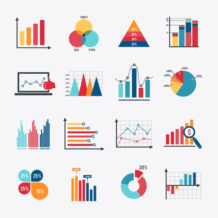 Illustration pour Business data market elements dot bar pie charts diagrams and graphs flat icons set isolated vector illustration. - image libre de droit
