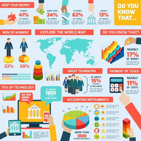 Illustration pour Accounting infographics set with finance money charts and world map vector illustration - image libre de droit