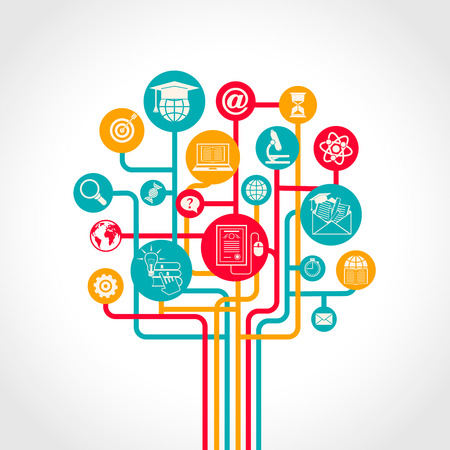 Illustration pour Online education tree concept with e-learning training resources icons vector illustration - image libre de droit