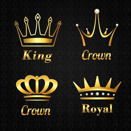 Illustration pour Golden heraldry kings and queen royal crowns set on black background vector illustration - image libre de droit