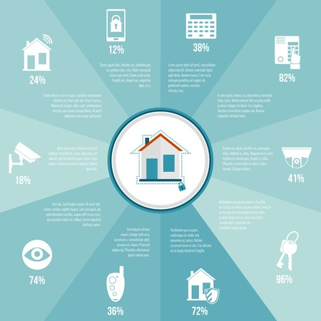 Illustration pour Home security infographics set with safety and protection burglar alarm system vector illustration - image libre de droit