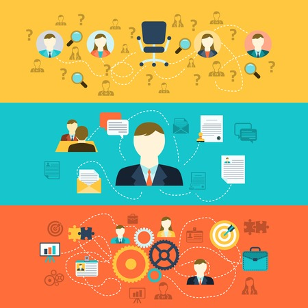 Illustration pour Human resources personnel selection interviewing recruiting training and integrating applicants horizontal banners set abstract flat vector illustration - image libre de droit