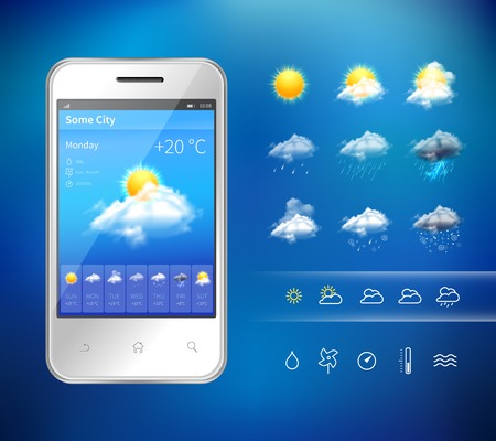 Illustration pour Realistic mobile phone with weather forecast widget mobile application program layout template vector illustration - image libre de droit