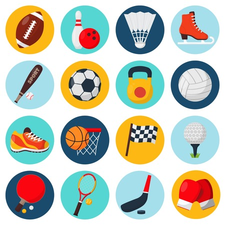 Ilustración de Sport icons set with soccer golf table tennis balls gloves skate bowling equipment isolated vector illustration - Imagen libre de derechos