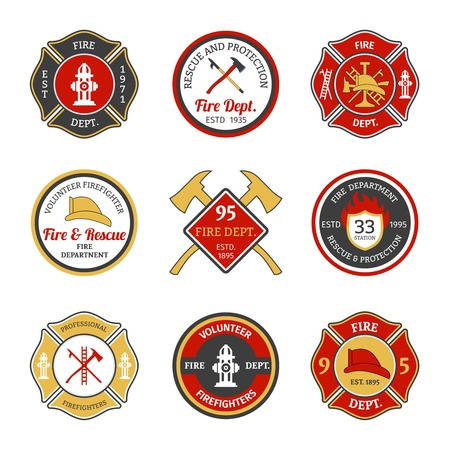 Illustration for Fire department rescue and protection volunteers and professional firefighter emblems set isolated vector illustration - Royalty Free Image