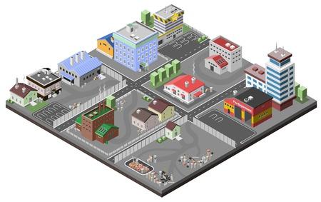 Illustration pour Industrial area concept with isometric plants factories police station and fire department buildings vector illustration - image libre de droit