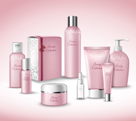 Illustration pour Realistic 3d Luxury Collection Cosmetics Face Beauty Care Products Packages Set Vector Illustration - image libre de droit