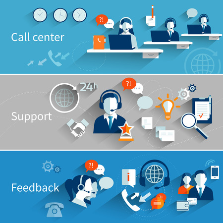 Illustration pour Customer service banners set with call center support feedback isolated vector illustration - image libre de droit