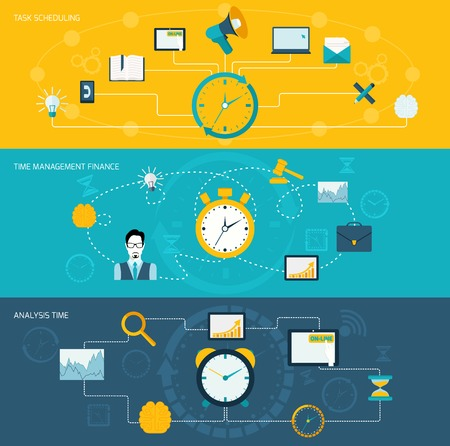 Illustration pour Time management flat banner set with task scheduling finance analysis set isolated vector illustration. - image libre de droit