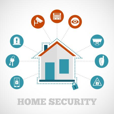 Illustration pour Home security concept with flat building protection icons set vector illustration - image libre de droit