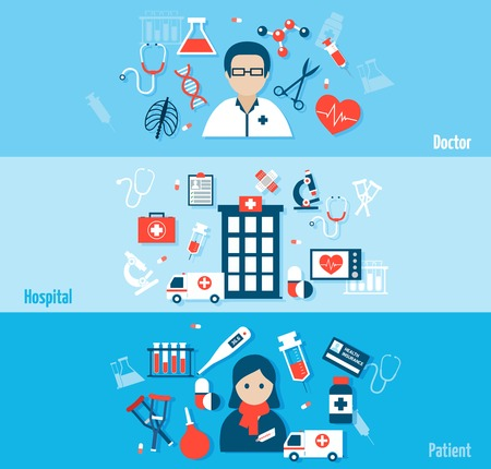 Illustration pour Medical flat banners set with doctor hospital patient element isolated vector illustration - image libre de droit