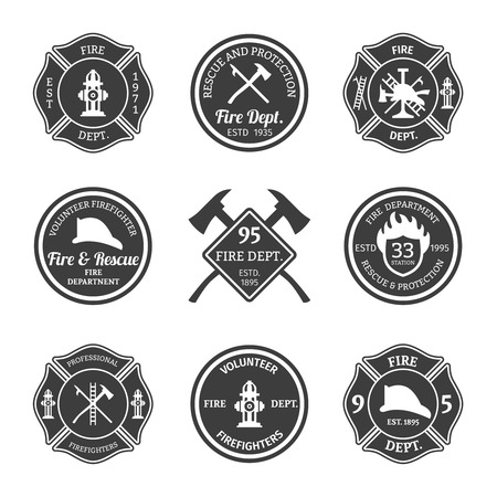 Illustration pour Fire department professional firefighter equipment black emblems set isolated vector illustration - image libre de droit
