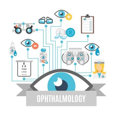 Illustration pour Ophthalmology flat concept with oculist decorative icons set vector illustration - image libre de droit