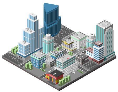 Foto de City downtown concept with isometric office skyscrapers and government buildings 3d vector illustration - Imagen libre de derechos