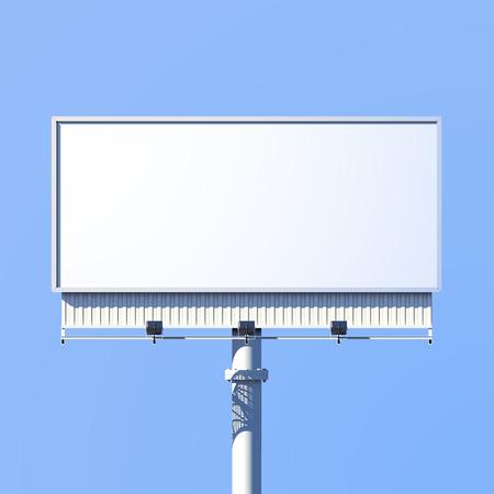 Ilustración de Realistic 3d outdoor advertising billboard sign isolated on blue background vector illustration - Imagen libre de derechos