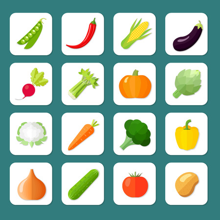 Photo for Vegetables icon flat set with peas chili pepper corn eggplant isolated vector illustration - Royalty Free Image