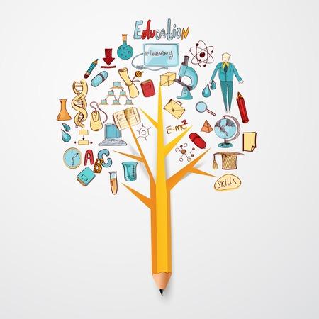 Illustration pour Education doodle concept with research science school icons on pencil tree vector illustration - image libre de droit