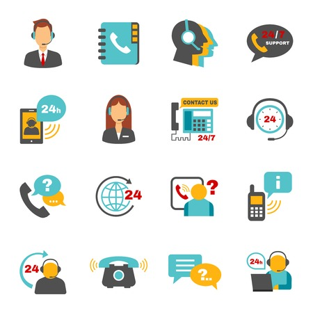 Illustration pour Contact us 24h support call center service flat icons set with operator headphone abstract vector isolated illustration - image libre de droit