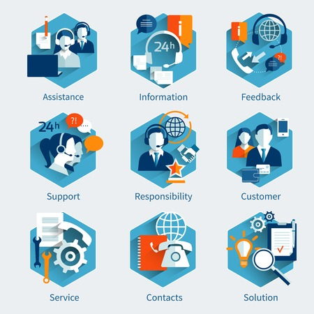 Illustration pour Customer service concept set with assistance information feedback decorative icons isolated vector illustration - image libre de droit