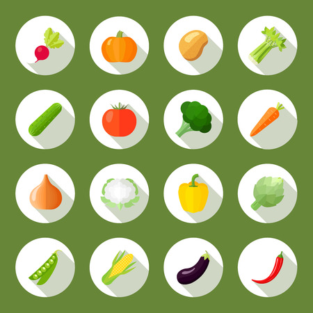 Foto per Vegetables icons flat set with radish pumpkin potato celery isolated vector illustration - Immagine Royalty Free