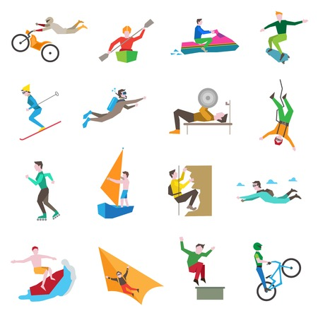 Illustration pour Extreme sports icons set with people kiting cycling sailing skiing isolated vector illustration - image libre de droit