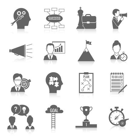 Illustration pour Coaching business teamwork partnership and collaboration training system icon black set isolated vector illustration - image libre de droit