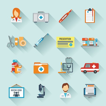 Photo pour Doctor icon set with medical specialists first aid instruments isolated vector illustration - image libre de droit