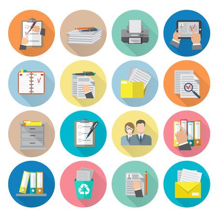 Illustration pour Document archive catalog management documentation organizing icon flat set isolated vector illustration - image libre de droit