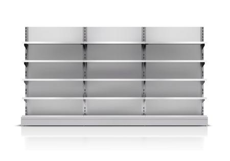 Illustration pour Realistic 3d empty supermarket shelf isolated on white background vector illustration - image libre de droit