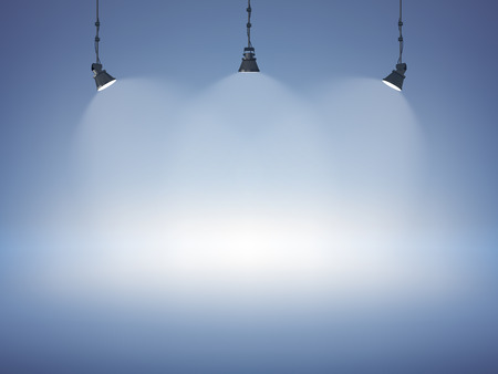 Illustrazione per Spot light abstract club gallery theater interior 3d realistic background vector illustration - Immagini Royalty Free
