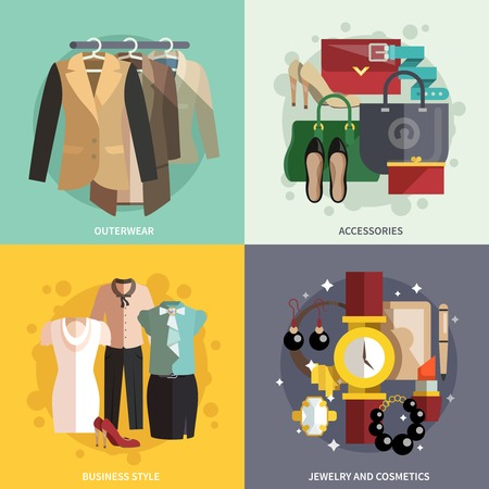 Illustration for Businesswoman clothes icons flat set with outwear accessories business style jewelry and cosmetics isolated vector illustration - Royalty Free Image