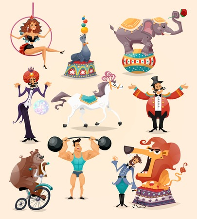 Ilustración de Circus performance decorative icons set with athlete animals magician vector illustration - Imagen libre de derechos
