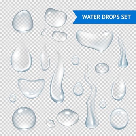 Illustration pour Pure clear water drops realistic set isolated vector illustration - image libre de droit