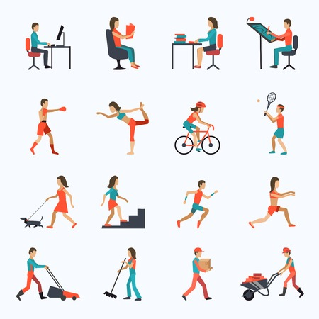 Foto de Physical activity icons set with people working cycling training isolated vector illustration - Imagen libre de derechos