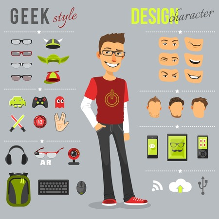 Illustration for Geek style design character set with backpack computer keyboard web camera isolated vector illustration - Royalty Free Image