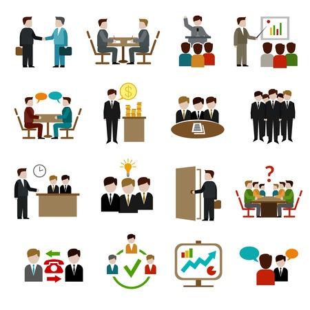 Illustration for Meeting icons set with business teamwork corporate training and presentation symbols isolated vector illustration - Royalty Free Image