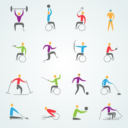 Disabled sports icons set with invalid athletes competition symbols isolated vector illustration