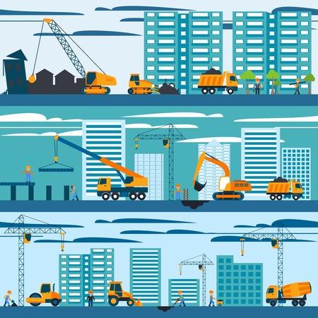 Illustration pour Construction and building concept with builders machines and skyscrapers vector illustration - image libre de droit
