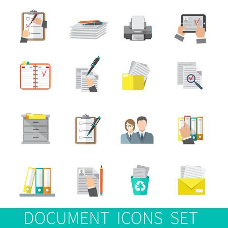 Illustration pour Document paper folder documentation organizing icon flat set isolated vector illustration - image libre de droit