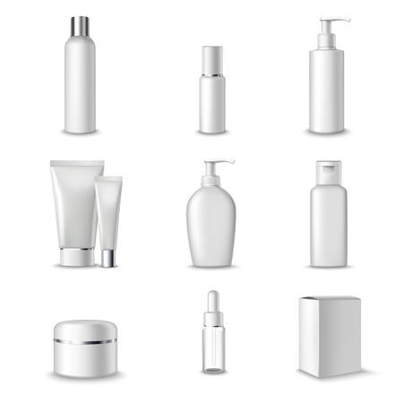 Illustration pour Cosmetics Packages Beauty Products Set Realistic 3d Isolated Vector Illustration - image libre de droit