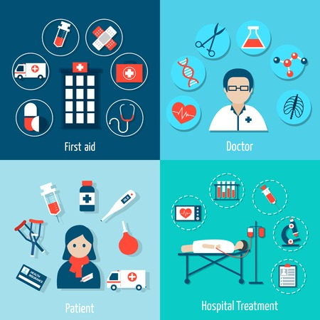 Illustration pour Medical flat set with first aid doctor patient hospital treatment isolated vector illustration - image libre de droit