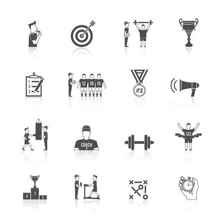 Coaching sport tournament athlete training black icon set isolated vector illustration