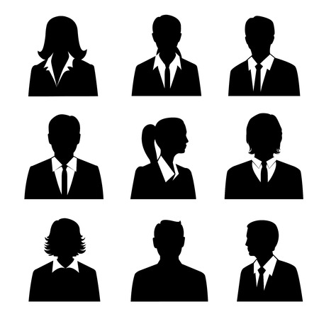 Illustration pour Business avatars set with males and females businesspeople silhouettes isolated vector illustration - image libre de droit