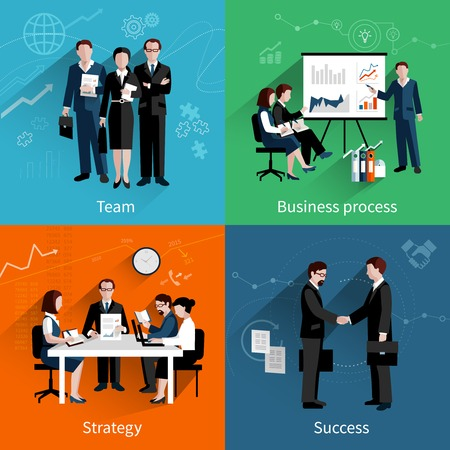 Illustration pour Teamwork design concept set with team business process strategy and success flat icons set vector illustration - image libre de droit