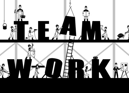 Illustration pour Teamwork poster with construction process and black builder people silhouettes vector illustration - image libre de droit