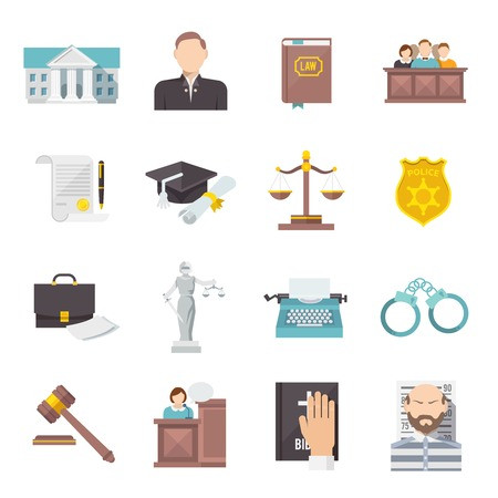 Illustration pour Law and judgment legal justice icon flat set isolated vector illustration - image libre de droit