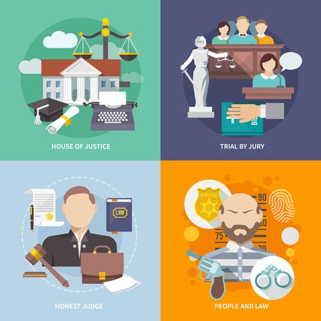Illustration pour Law design concept with house of justice trial by jury honest judge icon flat set isolated vector illustration - image libre de droit