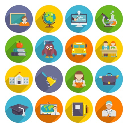 Illustrazione per School icon flat set with blackboard laptop students isolated vector illustration - Immagini Royalty Free